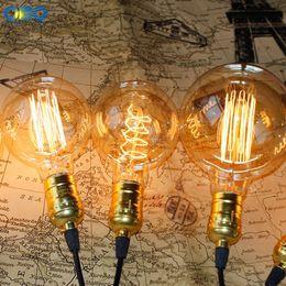 Wholesale Holder Lamps - Wholesale Price Vintage G80 G95 G125 Edison Incandiscent Light Bulbs 110-240V E27 Lamp Holder Indoor Light Source Free Shipping
