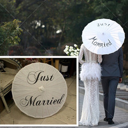 Wholesale Wedding Just Married - Just Married Mr And Mrs Thank You Painted Wedding Umbrella White Color Folding Umbrella Decor For Wedding Photographs Photo Props Parasol