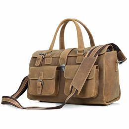Wholesale Brown Leather Luggage - J.M.D Crazy Horse Leather Travel Double Handbags Luggage Dufflel Bag Shoulder Bag 6001B