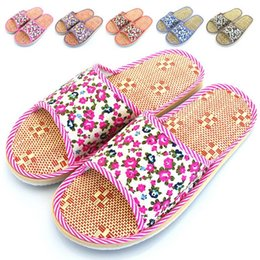 Wholesale Fabric Flowers Wholesale Price - Wholesale- Summer Lovers Home Slippers Men Women Small Broken Flower Indoor Flax Antislip Breathable Shoes Factory Direct Price Sandals
