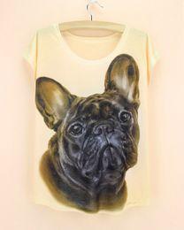 Wholesale Army Dog Shirt - Wholesale- 2015 Hot Selling fashion Women T Shirts Short Sleeve french dog Printed T-Shirts Big Size girls Tops fashion design Tee
