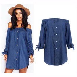 Wholesale Dress Jean Women - 2017 Autumn Casual Jeans Dresses For Women With Full Sleeves Bow Strapless Slash Neck High Quality Solid Jean Mini Dress Loose Woman Clothes