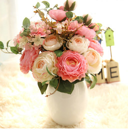 Wholesale Cheap Table Decorations For Wedding - 10 Bouquets MOQ Wholesale free shipping cheap silk flash artificial Peony flower charm For DIY wedding home bottle table flores decoration