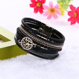 Wholesale Gift Wrapping Singapore - 2016 Boho Leather Bracelets Bangles with Magnetic Buckle Wrap Jewelry tree of life Pulsera for Women brazaletes pulseras mujer