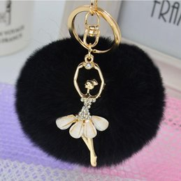 Wholesale Real Gold For Sale Men - hot sale Ballerina Girl Fluffy Real Rabbit Fur Ball Keychain Car Key Chain Ring Decoration For Purse Bag Accessories