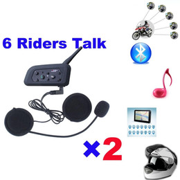 Wholesale Wireless Headphones Helmets - 1 * V6 1200M 6 Riders BT Multi Interphone Bluetooth Intercom Motorcycle Wireless Headsets Headphones Accessories Helmet Headset