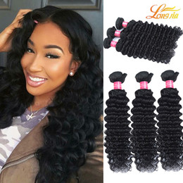 Wholesale Tangle Free Weaves - Grade 7A Deep Wave Malaysian Hair Extensions Unprocessed Human Hair Bundles Dyeable Natural Color No Tangles and No Shedding Free Shipping