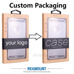 Personalizar ganchos on-line-DIY Personalizar Empresa LOGOTIPO Caixa De Embalagem De Papel Kraft com Cabide Adesivo Colorido para iphone6 6plus Caso