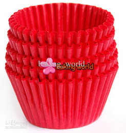 Wholesale Paper Tray Cups - 500pcs Roll Lot Red Round greaseproof paper Cup cake tray Cupcake case High temperature baking cup Home Party diverse colorful Party