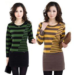 Wholesale Ladies Korean Winter Dresses - Wholesale- 2016 Winter Women's sweaters ladies long paragraph sweater Korean Slim striped sweater dress
