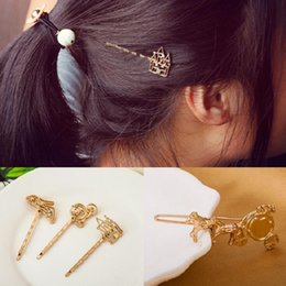 Wholesale D Bang - hair barrettes hairgrips clip for Women girl Hair Accessories headwear holder bun bang vintage golden creative d