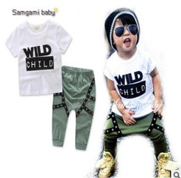 Wholesale Wild Child Clothes - Wild Child Letters Printed Kids Tattoo Sleeves T-shirt Pants 2Pcs Outfits Ins Clothes Boys Clothing Set Baby Boys Clothes Boutique Clothing