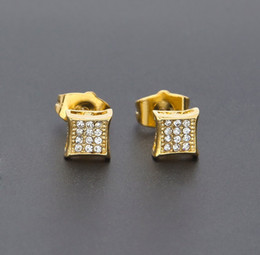 Wholesale Square Shape - New Square Shape Earrings Stud Micro Pave Crystal 18k Gold Silver Plated Color Korean Style Earrings