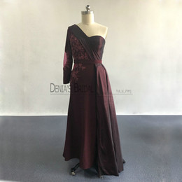 Wholesale Evening Dresses Red Wine - 2017 Wine Red Split Sheath Evening Dresses with One-Shoulder Neckline Long Sleeves Beaded Appliques Side Overskirt Party Prom Gowns