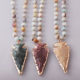 Wholesale Mixed Color Stone Beads - Fashion MIX Color Amazonite Stones Rosary Chain Arrowhead Pendant Mala Necklace Handmade Women Natural Stone Bead Necklace