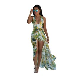 Wholesale Halter Maxi Dress Plus Size - 2017 Boho Chic Style Long Dress Women Off Shoulder Sexy Backless Beach Casual Summer Dresses Floral Chiffon Maxi Dress Plus Size