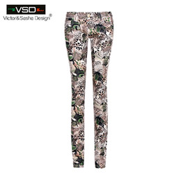 Wholesale Floral Print Skinny Jeans - Wholesale- Italy Spring Summer Strench Skinny Women Slim Pencil Jeans Floral Cotton Casual 3D Flower Print Pants Women Trousers Latex Jeans