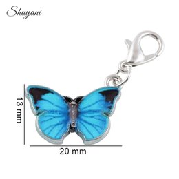 Wholesale 14k Gold Coin Pendant - 20PCS Fashion Silver Plated Colorful Enamel Butterfly Charms Pendants for Jewelry Making DIY Handmade Bracelet
