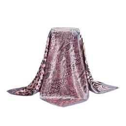 Wholesale Square Scarves Leopard Print - Wholesale- Fashion Large Imitated Silk Satin Square Scarf Women 90*90 cm High Quality Silk Scarves Shawl Hijab Luxury Brand Leopard Print