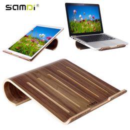 Wholesale Laptop Cooling Stand Holder - SAMDI Vogue Wooden Laptop Cooling Pad Stand Wood Cooler Holder Bracket Dock Universal for MacBook Air Pro Retina IPad Pro Air