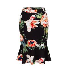 Wholesale Mermaid Fishtail Skirt - 2017 newest women skirt summer hot floral printed lotus leaf fishtail skirt fashion women sexy skirt