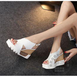 Wholesale Trendy Platform Wedges - Platform Heels Wedge Cement Wear Stylish Plain Peep Toe Lightweight Gladiator Soft Leather Trendy Wedge Shoes Leisure Slingback