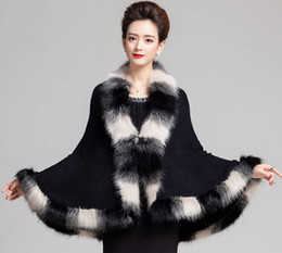 Wholesale Black Winter Cardigans - Faux Fox Fur Mixed color Poncho Coat Autumn Winter Fashion Knitted Cardigan Wool Cashmere Sweater Womens Capes and Ponchoes
