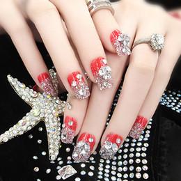 Wholesale Acrylic Nails For Wedding - Wholesale- 24 PCS Big Red Dazzling Gem Fake Nail Shining Bride Manicure Patch For Wedding Dress