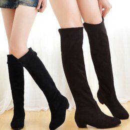 Wholesale Ladies Over Knee High Boots - Wholesale-Hot! 2016 New Fashion Sweet womens Thigh High Boots Spring Autumn Ladies Over The Knee Boots Casual Women Boots for Women O106