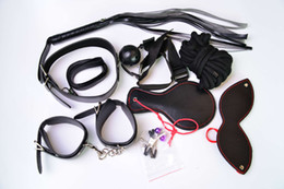 Wholesale Handcuffs Whips Mask Set - Adult Games Sex Bondage 8pcs Set Leather Handcuffs Gag Whip Mask Erotic Toy Fetish Adult Sex Restraints Sex Toy for Couples