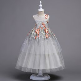 Wholesale Christmas Childrens - 2017 childrens long evening princess dresses kids party clothes baby girls high quality clothing toddler ball gown dress for 120-180cm