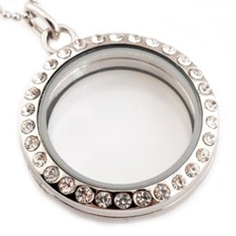 Wholesale Glass Lockets Floating Charms - Wholesale- Hot wholesale Stainless Steel Necklace 30mm Round Magnetic Glass Floating Charm Locket Pendants With Rhinestones Free Chain