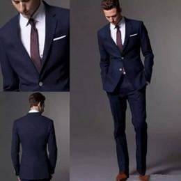 Wholesale Best Suits For Men - Custom Made Dark Navy Blue Men Suit 2017 Fashion Groom Suit Wedding Suits For Men Slim Fit Groom Tuxedos For Best Man(Jacket+Pants)