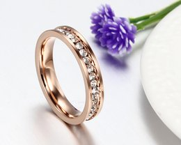 Wholesale Rose Gold Bands - 18K rose gold plated single row full diamond wedding ring female index finger ring golden color fashion jewelry with one hundred