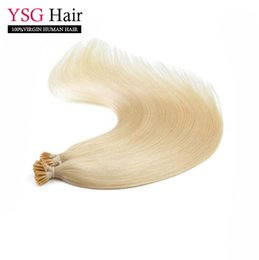 Wholesale Hair Blond Keratin - Indian remy i tip human hair extensions straight #613 blond pre-bonded keratin human hair 1g strand 100g pack large in stock
