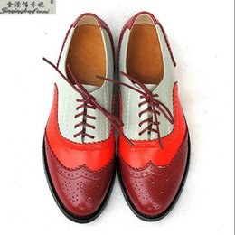 Wholesale Vintage Lace Up Beige Heels - Wholesale- Size 32-45 New 2017 Vintage Genuine Leather Flats Womens Spring Autumn Lace Up Casual Thick Heel Brogues Shoe Woman Oxford Shoes