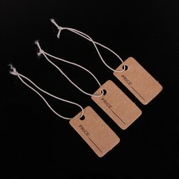Wholesale Blank Accessories - Free shipping!100 PCS lot of 1.3 * 2.3 cm kraft paper blank commodity price tag hanging bungee cord accessories card