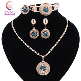 Wholesale Costume Jewelry Wedding Rings - New Bridal Red Blue Black Crystal Jewelry Sets Wedding Accessories Gold Color African Beads Costume Necklace Earring Bangle Ring