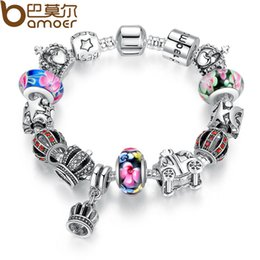Wholesale Authentic Pandora Charms Silver Crown - Pandora Style Authentic 925 silver Retro Fashion Crown Pendants Colorful Murano Beads Bracelets for Christmas Present PA1868