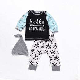 Wholesale Dots Cloth Shirt - Mikrdoo Fashion Baby Boy Clothes Hello I'm New Here Letters Printed Long Sleeve T-shirt Triangle Dot Pants Hat 3pcs Kids Suits Cotton Cloth