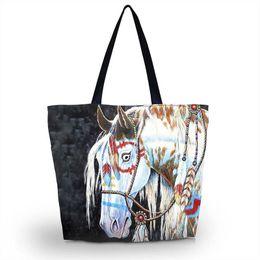 Wholesale Handbag Tote Purse Folding - Horse Soft Foldable Tote Women Shopping Bag Beach Tote Shoulder Bag Purse Handbag Travel School Grocery Packing Recyclable Bag