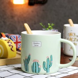 Wholesale Creative Mugs With Bamboo Spoon Cute Hand Painting Cactus Pattern Bronzing Words Ceramic Cup Resistant High Temperature Hand Grip Coffee Cup