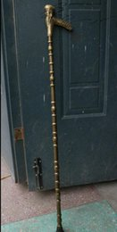 "Wholesale Pure Life Style - 38""Chinese Pure Copper Longevity God Shou Life Head Walking Stick Crutch Crosier"