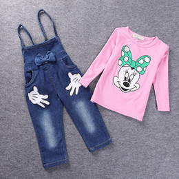 Wholesale Minnie Mouse Overall - Wholesale- 2016 Brand Baby clothes Girls Minnie Mouse suit Summer cotton Kids 2-pcs sets T Shirt+Jeans Overalls Girl Children Clothing Set