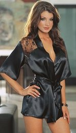 Wholesale Wholesale Robes For Women - Wholesale- Nightwear Women Luxury Lace Deep V Spring Faux Silk Satin Sleepwear Robes Pajamas Nightgowns for