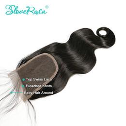 Slove cheveux 8A Grade No Shedding / Tangle Dentelle Fermeture Cheveux Brésiliens Corps Vague Gratuit / MIiddle / 3 Partie 4