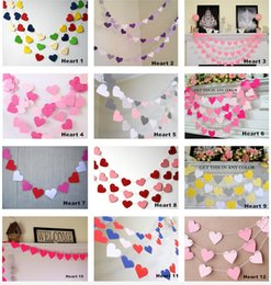 Wholesale Long Home Curtains - new arrived 1 pcs 1m long with 15 hearts cardboard garland wedding party wedding room decoration curtain wall Home Furnishing classroom 10g
