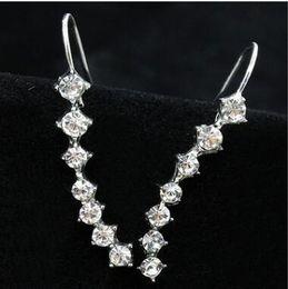Wholesale Pearl Diamond Earrings 14k - Long a word diamond earrings More than long pearl ear clip two styles can choose