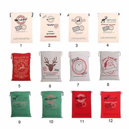 Wholesale Santa Claus Ship - 2017 Christmas Large Canvas Monogrammable Santa Claus Drawstring Bag With Reindeers, Monogramable Christmas Gifts Sack Bags fast shipping
