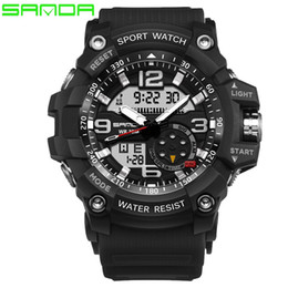 Wholesale Men S Electronic Watch - SANDA Brand S Shock Sport Watch For Men Digital Dual Display LED electronic Watches Fashion Waterproof Military Watch Male Clock